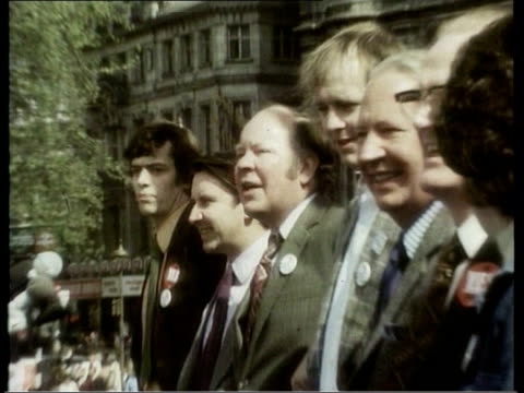 lib margaret thatcher wearing jumper made up of european flags edward heath posing with others edward heath speaking at proeuro rally sot who are... - referendum stock-videos und b-roll-filmmaterial