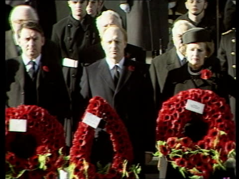 David Owen and David Steel R London Cenotaph as Remembrance Sunday ceremony in progress Neil Kinnock MP Margaret Thatcher standing side by side each...