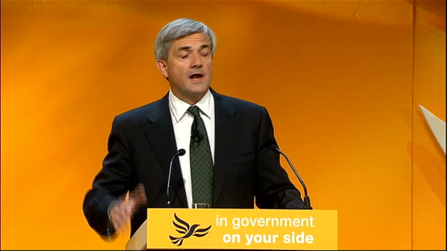 liberal democrat annual conference 2011: energy secretary speech; chris huhne mp speech sot - other people argue that we cannot afford to boost the... - british liberal democratic party stock videos & royalty-free footage