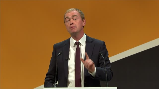 liberal democrat conference: vince cable criticizes brexit progress; tim farron mp speech sot - this is not the place if you want an easy life, it is... - ポピュリズム点の映像素材/bロール