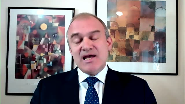 """liberal democrat leader ed davey saying he would like to see an independent body who would enforce ministerial code - """"bbc news"""" stock videos & royalty-free footage"""