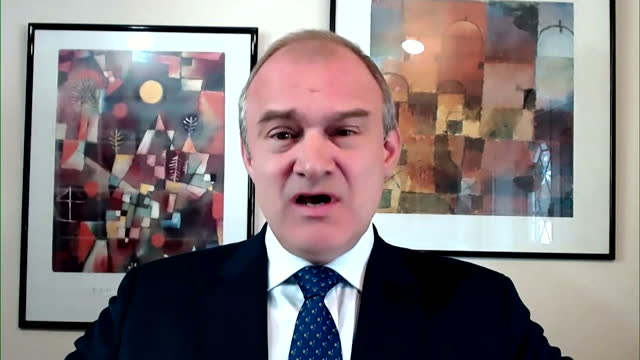 """liberal democrat leader ed davey talking about the greensill lobbying controversy - """"bbc news"""" stock videos & royalty-free footage"""
