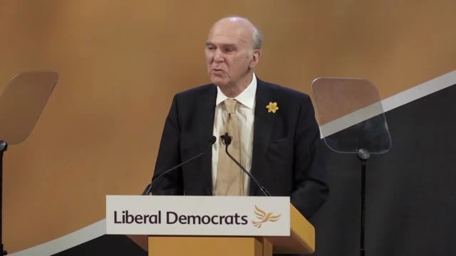 stockvideo's en b-roll-footage met liberal democrat leader sir vince cable's speech to the party's spring conference in southport lancs he says we have a brexitobsessed singleissue... - southport engeland