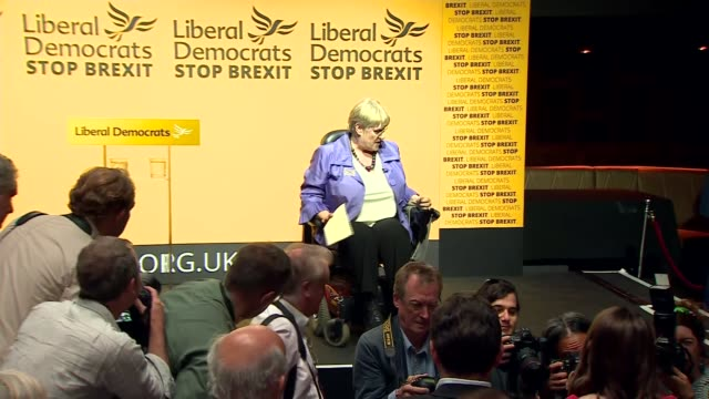 results announced england london westminster int jo swinson mp and ed davey mp arriving / sal brinton speech sot / - british liberal democratic party stock videos and b-roll footage