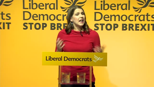 results announced england london westminster int jo swinson mp photocall / jo swinson mp speech sot / swinson leading applause for ed davey mp - british liberal democratic party stock videos and b-roll footage