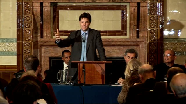 liberal democrat leadership election: nick clegg and chris huhne speeches at hustings debate; question and answer session with clegg and huhne sot - クリス ヒューン点の映像素材/bロール