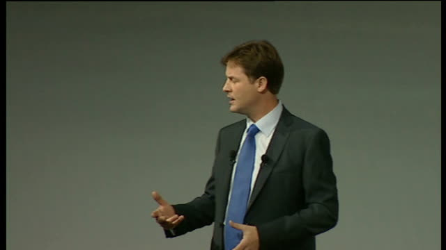 nick clegg keynote speech fair and green this is the new economy we will build but we need a new kind of government to go with it to put britain on... - keynote speech stock videos and b-roll footage