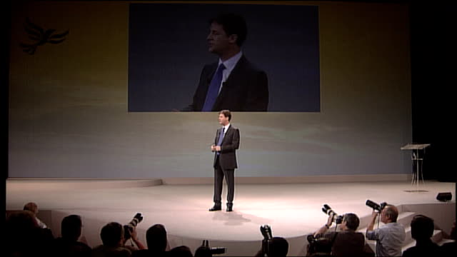 nick clegg keynote speech liberal democrats have called for tax rises in the past when what britain needed most of all was more investment in our... - keynote speech stock videos and b-roll footage