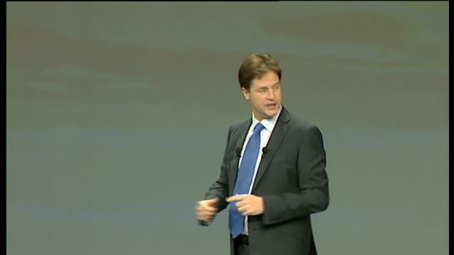 nick clegg keynote speech quite simply we need a government that listens understands and acts and you know what the liberal democrats can be – will... - keynote speech stock videos and b-roll footage