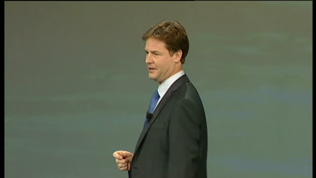 nick clegg keynote speech nick clegg mp speech sot i'm going to talk today about the future but let me start by asking you to think back to the... - face down stock videos & royalty-free footage