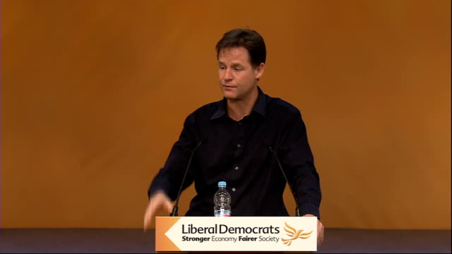 liberal democrat party conference: nick clegg q&a session; nick clegg sot re northern futures & combined authorities: - we've done a lot to relax the... - 分散点の映像素材/bロール