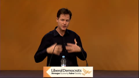vídeos de stock e filmes b-roll de liberal democrat party conference: nick clegg q&a session; nick clegg sot re drug abuse being a health not crime issue: - like so many things we've... - making money