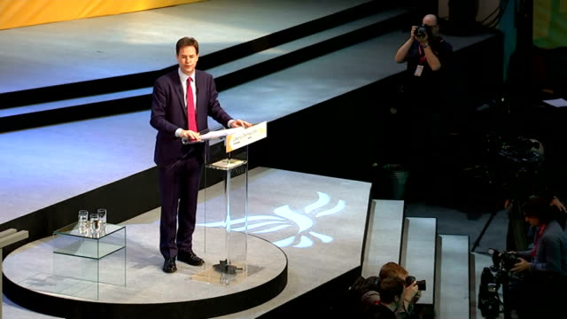 liberal democrat party conference: nick clegg speech; nick clegg mp speech sot - something very un-british is taking root in our politics, a growing... - politics and government stock videos & royalty-free footage
