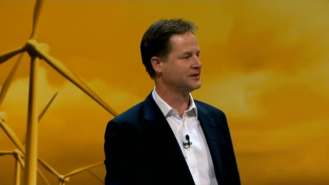 opening day int nick clegg mp speech sot i'm at number 37 in the itunes pop charts delegates applauding clegg on stage - audio software stock videos & royalty-free footage