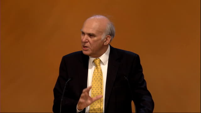 liberal democrat party conference: vince cable accuses conservatives of lying over taxation; vince cable along to liberal democrat conference podium... - 画面切り替え カットアウェイ点の映像素材/bロール