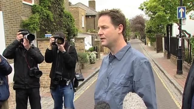 stockvideo's en b-roll-footage met liberal democrat party leader nick clegg comments on talks with conservative party officials after uk general election resulted in a hung parliament... - number 9