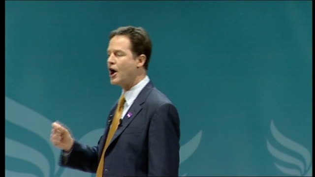 liberal democrat spring conference 2011: nick clegg speech; clegg speech sot the first order of business for this government has of course been to... - politics and government stock videos & royalty-free footage