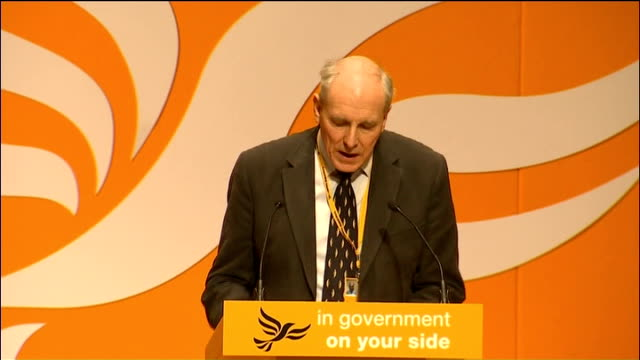 liberal democrat spring conference: health and social care bill causes dissent; int close shot baroness williams seated in audience nick clegg mp... - itv weekend late news点の映像素材/bロール
