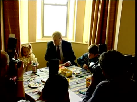 annual conference in blackpool day 3 england blackpool int liberal democrat leader charles kennedy mp at table with children in nursery photographers... - charles kennedy stock videos & royalty-free footage