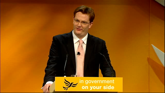 liberal democrats annual party conference 2011: danny alexander speech; england: west midlands: birmingham: int unidentified woman introducing danny... - tenacious d stock videos & royalty-free footage