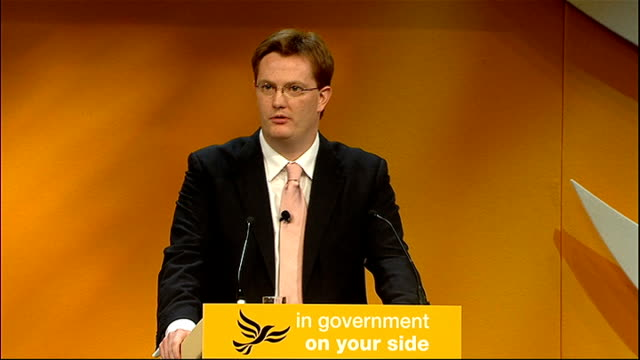 liberal democrats annual party conference 2011 danny alexander speech alexander speech sot we're on your side when it comes to the banks too... - casino worker stock videos and b-roll footage