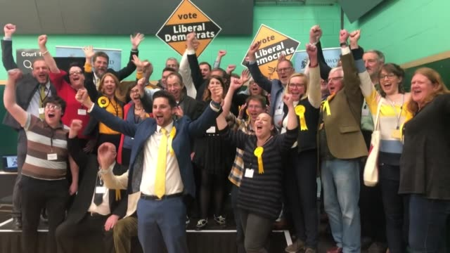 liberal democrats celebrating successful results in the local elections - british liberal democratic party stock videos & royalty-free footage