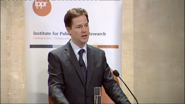 clegg speech about budget deficit; england: london: the livery hall: institute for public policy research: int nick clegg mp along onto platform nick... - big hair stock videos & royalty-free footage