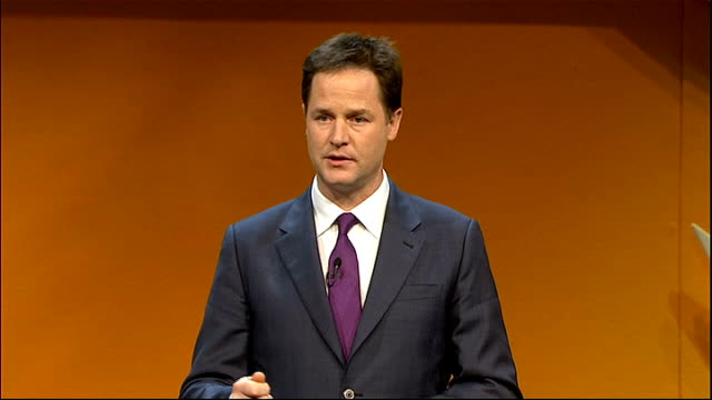 liberal democrats conference 2011: nick clegg opening address; clegg speech sot - i have spent the last few weeks criss-crossing the country,... - social history stock videos & royalty-free footage