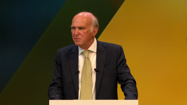 Cable fluffs line in speech ENGLAND east Sussex Brighton INT Sir Vince Cable MP speech SOT Talks of economic pain of Brexit being justified by Leave...