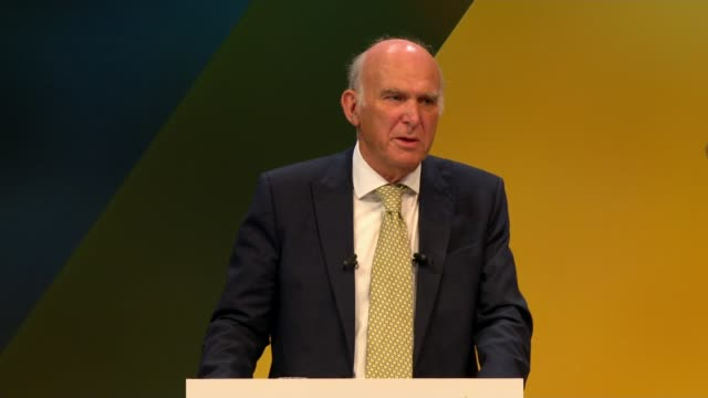 Cable fluffs line in speech ENGLAND East Sussex Brighton INT Sir Vince Cable MP speech SOT Years of economic pain justified by the exotic spresm of...