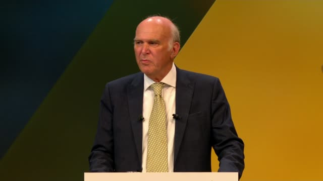 cable fluffs line in speech england east sussex brighton int sir vince cable mp speech sot the brexit day may be the 29th of march but it is only... - east sussex stock videos & royalty-free footage