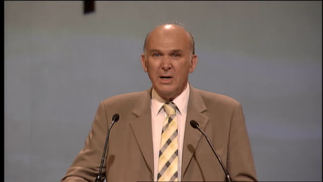 liberal democrats conference in bournemouth vince cable speech cable speech sot we should target tax havens in our dependent territories i was... - order of the british empire stock videos and b-roll footage