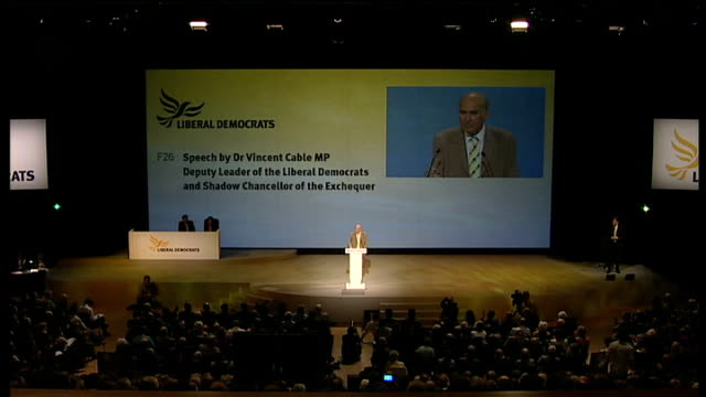 Liberal Democrats conference in Bournemouth Vince Cable speech Cable speech SOT It isn't possible to have a sense of society let alone of patriotism...