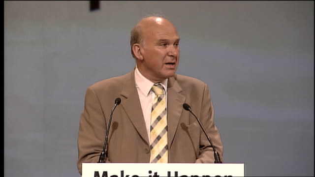 Liberal Democrats conference in Bournemouth Vince Cable speech ENGLAND Dorset Bournemouth PHOTOGRAPHY *** Vince Cable taking stage as audience...