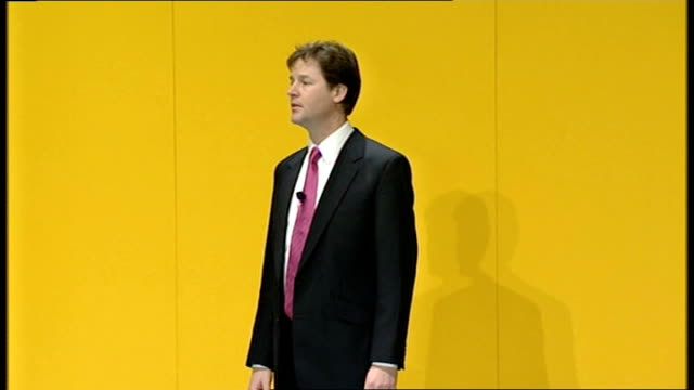 liberal democrats conference: nick clegg delivers first major speech as leader; - i don't just mean vested interests determining government policy... - simply red点の映像素材/bロール