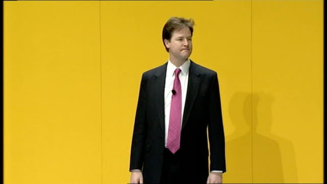 liberal democrats conference: nick clegg delivers first major speech as leader; - money taken from the poorest kids and given to the richest adults,... - doing a favour stock videos & royalty-free footage