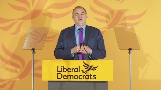 liberal democrats leadership election: result and sir ed davey acceptance speech; england: london: conrad st james hotel: int gv lectern on stage at... - 6 11 months stock videos & royalty-free footage