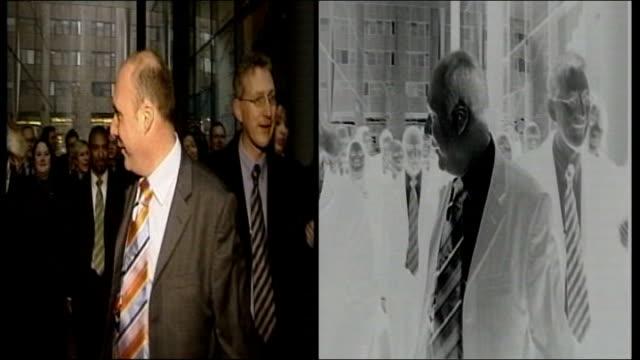 Mark Oaten sex scandal GRAPHICISED SEQUENCE SPLIT SCREEN Mark Oaten MP ENGLAND London MS Michael Brown Walker on sofa speaking to Brown MS Michael...