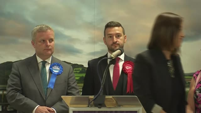 liberal democrats overturn conservative majority to win brecon and radnorshire by-election; wales: brecon and radnorshire: int dodds finishing speech... - 中央ウェールズ点の映像素材/bロール
