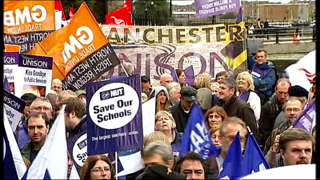 union demonstrations england merseyside liverpool union members gathered with flags unison bear waving flag **picture goes black** nasuwt protesters... - side by side stock videos & royalty-free footage