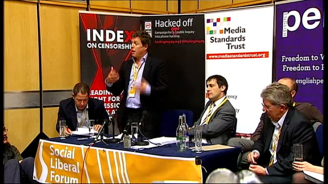 vidéos et rushes de hugh grant attends fringe meeting to speak about phone hacking scandal grant interview sot you'd think in a country like this that scam would have... - human castration