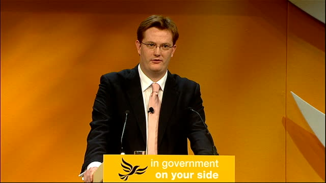 liberal democrats party conference 2011: plans to clamp down on tax avoidance by the wealthy; england: midlands: birmingham: int danny alexander mp... - clamp stock videos & royalty-free footage