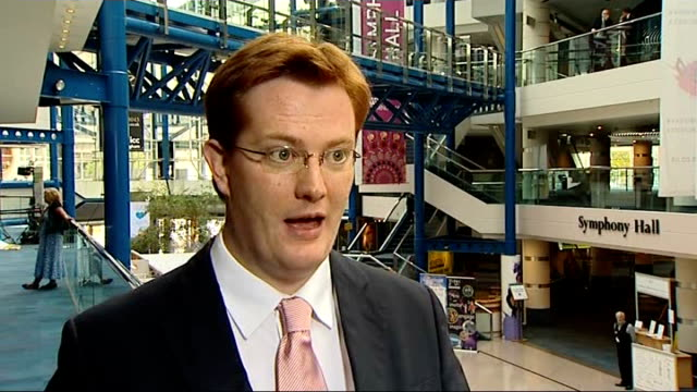 liberal democrats party conference 2011: plans to clamp down on tax avoidance by the wealthy; england: midlands: birmingham: ext danny alexander mp... - クランプ点の映像素材/bロール