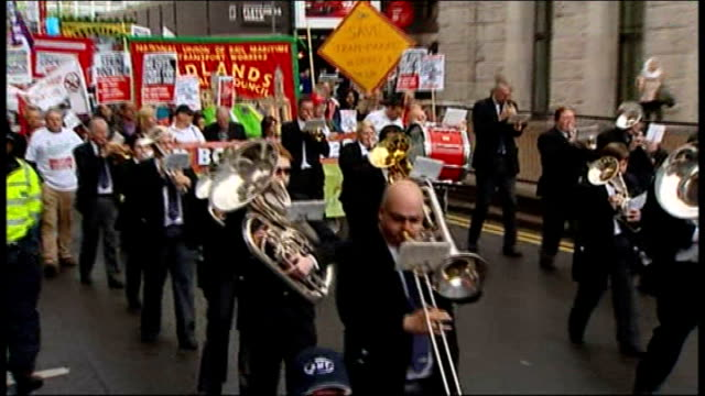 liberal democrats party conference 2011: plans to clamp down on tax avoidance by the wealthy; ext **music heard sot** marching band leading... - clamp stock videos & royalty-free footage