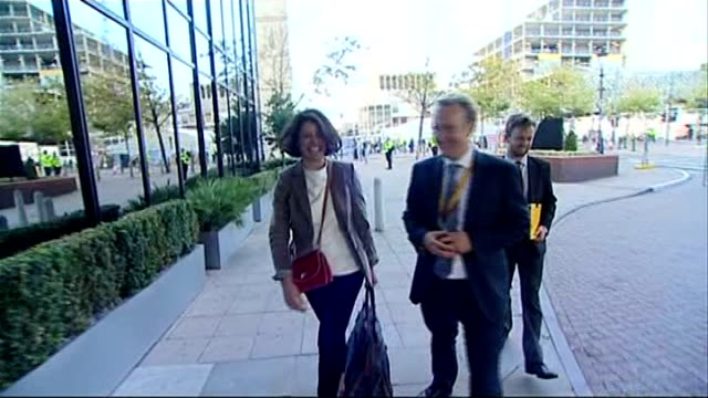 liberal democrats party conference 2011: plans to clamp down on tax avoidance by the wealthy; ext miriam gonzalez durantez arriving at conference... - クランプ点の映像素材/bロール