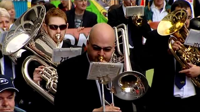 liberal democrats party conference 2011: plans to clamp down on tax avoidance by the wealthy; brass band marching sot - clamp stock videos & royalty-free footage