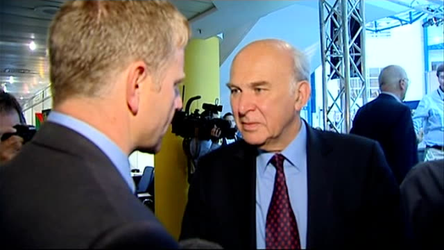 liberal democrats party conference 2011: plans to clamp down on tax avoidance by the wealthy; midlands: birmingham: vince cable mp interview sot - we... - クランプ点の映像素材/bロール