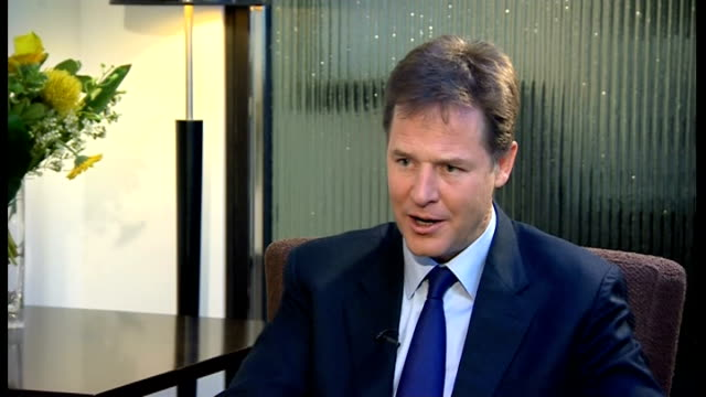 liberal democrats party conference: nick clegg interview; scotland: glasgow: int nick clegg mp interview sot - on free school meals policy / benefits... - politics and government stock videos & royalty-free footage