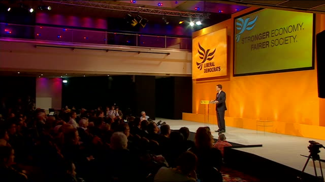 nick clegg speech nick clegg speech sot so let no one tell you that this government isn't straining every sinew to invest every available pound... - human back stock videos & royalty-free footage
