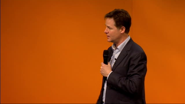 nick clegg question and answer session about we don't like europe for europe's sake / we believe we should be in it for britain's sake / you cannot... - drawbridge stock videos and b-roll footage